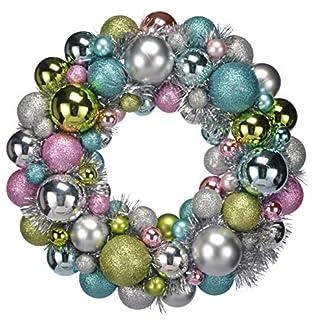 HI-Dekorativer-Weihnachtskugel-Kranz-30-cmAufhngeband-TrkranzDeko-KranzWeihnachtsdekoration