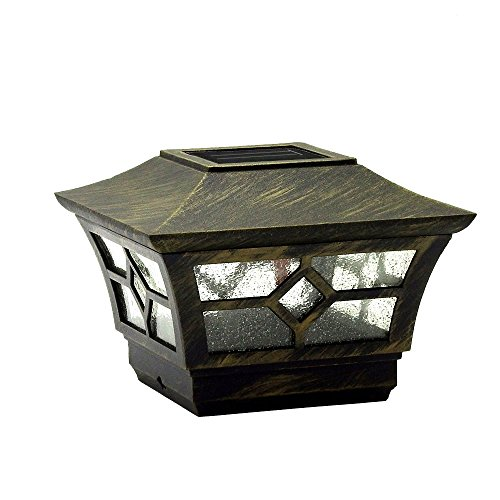 CHEEKON 4 x 4 Solar Post Cap Lights, Metal and Glasses, Bronze, Wood Post Fence Post Cap Outdoor Garden Yard Deck Street Top Wall (3.5 or 4 x 4 Inches)