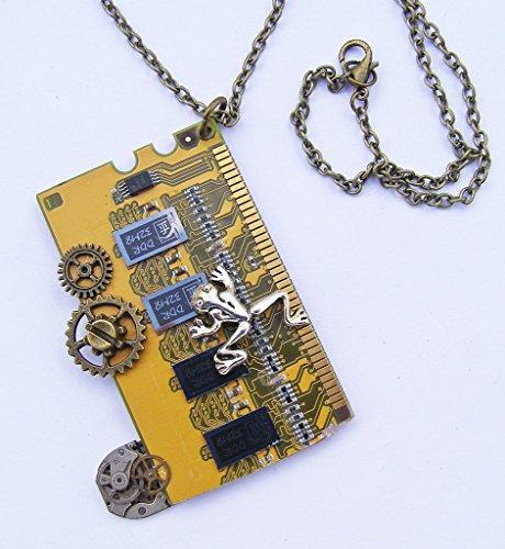 Cornwall Kunstdrucke Frosch und Chips Cyberpunk, Steampunk-Anhänger Halskette -