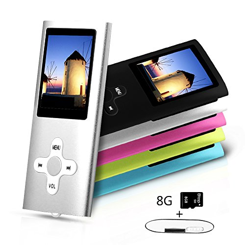 Btopllc MP3 Player, MP4 Player, Music Player, Portable 1.7 inch LCD MP3 / MP4 Player, Media Player 8GB Card, Mini USB Port USB Cable, Hi-Fi MP3 Music Player, Voice Recorder Media Player - silver