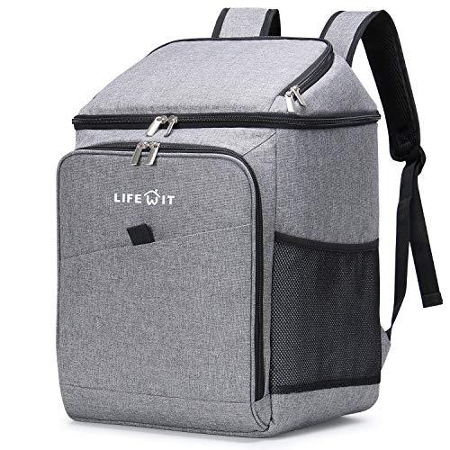 Lifewit 26L Kühlrucksack Thermo Rucksack Kühltasche Isolierte Cooler Bag Weich Doppeldecker für Picknick/BBQs/Camping/Ausflügen/Einkaufen, Grau