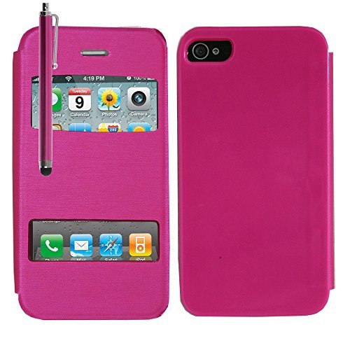 VCOMP® Etui Housse Coque flip cover View compatible pour Apple iPhone 4/ 4S/ 4G + mini stylet - ROSE ROSE + stylet