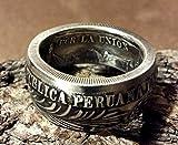 Coinring, Münzring, Ring aus sehr alter und wertvoller Münze, 1 Sol 1884 Peru, 900er Silber - Double Sided coin ring - Größe 71 (22.6), handgeschmiedetes Unikat