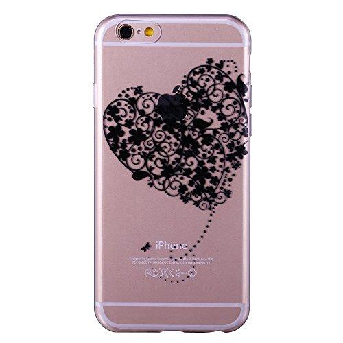iPhone 6 6S 4.7 Case TPU Gomma Morbida Trasparente Silicone Ultra Sottile Slim Disegno Personalizzato Cartoni Animati ZQ-Link® (Panda) amare