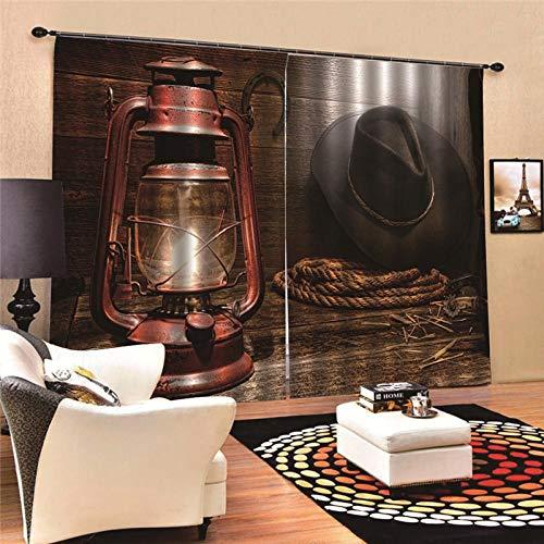 EZEZWSNBB 2 Panels Verdunkelungsvorhänge- Retro Öllampe 3D Wärmeisolierender Vorhang, Lärm reduzieren, geeignet für Schlafzimmer Wohnzimmer Kinderzimmer Verdunkelungsvorhänge 150X166CM