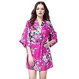 iHENGH Karnevalsaktion Weihnachten Damen Frauen gedruckt Nachtwäsche halbe Hülsen Nachtwäsche Satin Top Pyjama Bluse(M,Hotpink)