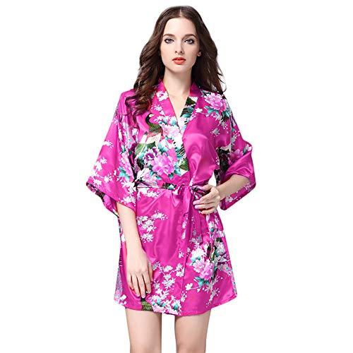 (Yvelands Damen Bedruckt Nachtwäsche Halbarm Nachtwäsche Satin Top Pyjama Bluse Home Print Bademantel (S, Pink))