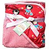 N&M Double Layer Velvet Fleece Newborn Printed Baby Blanket With Hood (Red Baby)