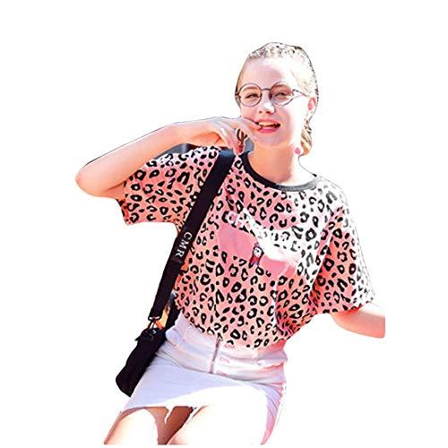 GQJQWE Pink Round Collar Leopard T-Shirt Damen Kurzarm Fashion Outer Cotton Tops Fun Print Reduzierte Kurzarm -