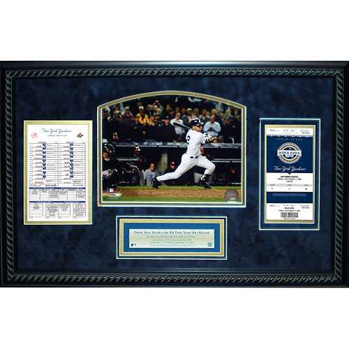 Steiner Sports MLB New York Yankees Derek Jeter All Time Yankees Hit Leader Replica Ticket und Line Up Karte gerahmt 14 x 22 Collage -