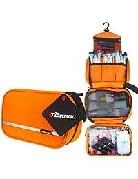 TRAVELMALL-Neceser Impermeable de Nylon Negro-Bolsa de aseo portatil,plegable,compacto,y amplio /bolsa de maquillaje cosmetico y multifuncional -Ideal para viaje u camping-Satisfaccion garantizada