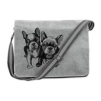 Messenger Schultertasche Vintage Kuriertasche Canvas Hunde Tasche mit Bully Motiv Bulldogge, Französische Bulldogge Hunde Frenchie