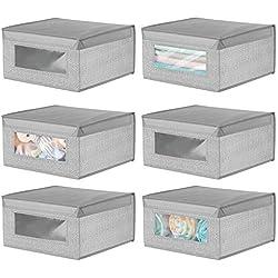 mDesign Boite de Rangement en Tissu (Lot de 6) - Panier de Rangement empilable pour vêtements ou Chaussures - bac de Rangement avec Couvercle et hublot - Gris