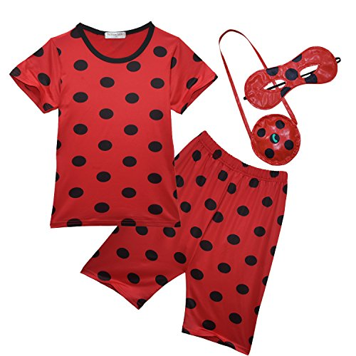 GREATCHILDREN Ladybug Girls Ladybug Pyjamas With mask and small bag - Snuggle Fit - Ages 3 to 12 Years