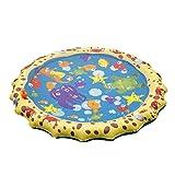 Leezo 39in-Durchmesser Sprinkle und Splash Wasser Spielmatte, aufblasbare Wasserspray Sprinkle Pad Sommer Spielzeug für Kinder Hund Katze Haustiere und Outdoor-Familie Aktivitäten Schwimmen Party
