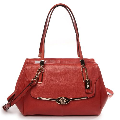 Coach Madison Small Leather Madeline East/West Satchel Vermillion - Schuhe Madeline