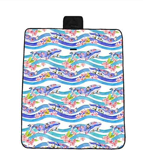 Strandmatte New Dolphin Blumenmuster 3D Digitaldruck Voll Polyester Oxford Stoff Picknick Matte Strandmatte Feuchtigkeits Pad OutdoorCamping Matte 200x200cm