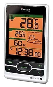 Oregon Scientific BAR206 - Station Météo avec prévisions météorologique et alerte gel (Argenté/Noir)