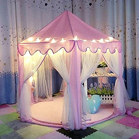 DeceStar Mignon Princesse Rose Castle Enfants Playhouse Indoor, Vient avec la lumière