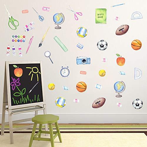 TOARTi Wandaufkleber, Wasserfarben, 49 Aufkleber, Bälle, Basketball-Wandaufkleber, bunt, Lehrausrüstung mit Scherenstift, Wandkunst für Kinderzimmer