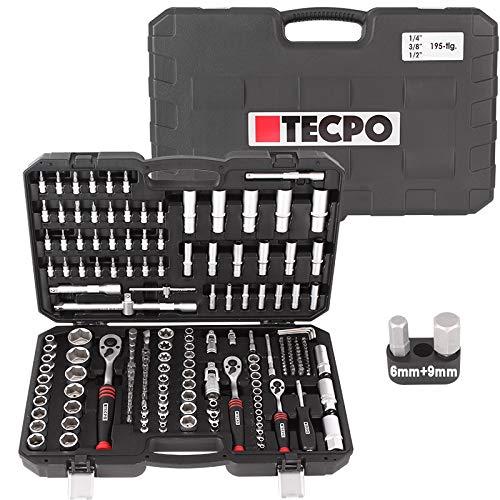 TECPO Steckschlüssel Satz 195-teilig Profi Knarrenkasten Ratschenkasten Set Werkzeugkoffer 1/2 3/8 1/4 Stecknüsse Bits