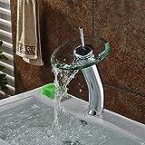 Wasserhähne Wasserhahn mit Wasserfall-Glasauslauf Waschbecken Wasserhahn Mischbatterie Chrom poliert kommerzielle hohe Badezimmer Gefäß Waschbecken Wasserhahn Unterbau