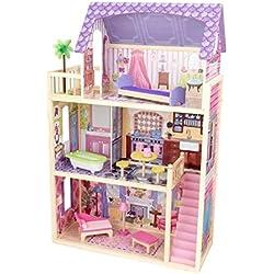 KidKraft 65092 Maison de poupées en bois Kayla incluant accessoires et mobilier, 3 étages de jeu pour poupées 30 cm
