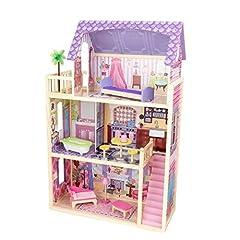 Idea Regalo - Kidkraft 65092 Casa delle Bambole in Legno Kayla per Bambole di 30 Cm con 10 Accessori Inclusi e 3 Livelli di Gioco