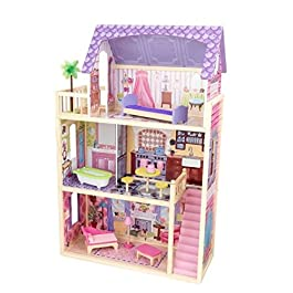 KidKraft 65092 Casa legno Kayla per bambole di 30cm con 10 accessori inclusi e 3 livelli di gioco, Multicolore