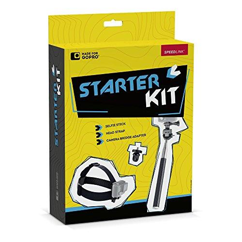 Speedlink Zubehör für Action-Cams - Starter Kit for GoPro (Ausziehbare Teleskopstange - Gewinde-Adapter für handelsübliche Kameras - Verstellbare Action-Cam-Halterung für Kopf und Helm) schwarz