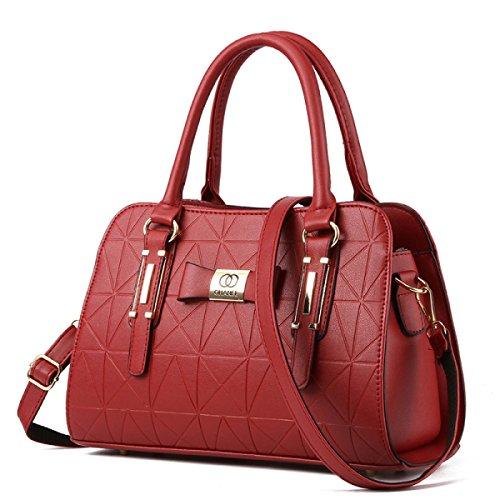 Le Donne Colore Solido In Pelle Borse In Rilievo Intellectuality Shoulder Bag Messenger WineRed