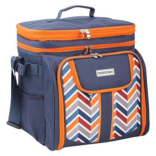 anndora Picknicktasche blau orange Umhängetasche Tragetasche + Zubehör 29-teilig