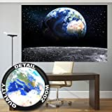 Fototapete Planet Erde Wandbild Dekoration Welt Earth Mond Galaxy Universum All Cosmos Space Weltkugel Sterne Moon Weltall Orbit | Foto-Tapete Wandtapete Fotoposter Wanddeko by GREAT ART (210x140 cm)