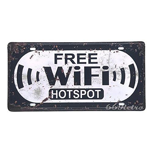 66retro Free WiFi Hotspot, Vintage Retro Metall blechschild, Wand Deko Schild, 30cm x 15cm