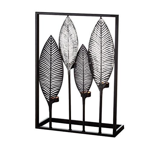 Casablanca Leuchter Palmblätter braun /champag 2er Set B 38 x H 50 x L 12 cm Metall gebürstet für 4 Teelichte -
