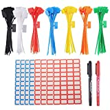 GTIWUNG 175 Pezzi Stringicavi Etichette per Fascette per Cavi Colorate Marcatura con etichette vuota da 320 pezzi per Gestione Cavi, Gestione del Cavo