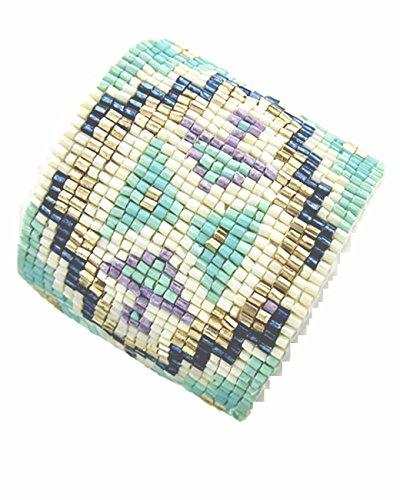 Luxus Native Hippie di Boho Larghezza Bracciale Perle di vetro metallo pastello turchese Minz viola oro avorio blu Vitrail