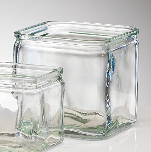 Jarrón de cristal Rustic transparente rectangular de Sandra Rich, vidrio, claro, 14...
