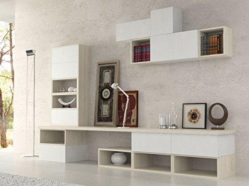Ve.ca-italy parete attrezzata soggiorno etnika, living, arredo casa, in diverse colorazioni (bianco larice - bianco frassinato)