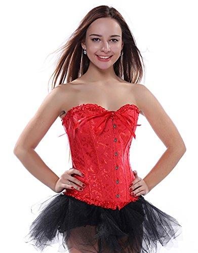 loveorama.de PhilaeEC Sexy Damen Hochzeit korsett Rot Vergröße Satin mit Schnüren Unterwäsche und G-string (Rot, 6XL)