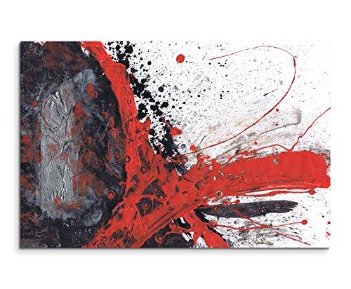 Paul Sinus Art 120x80cm Leinwandbild Leinwanddruck Kunstdruck Wandbild rot schwarz grau weiß gemalt (Abstrakte Kunst Rot)