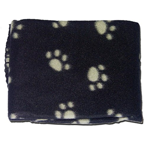 katzeninfo24.de Hunde-/ Katzendecke, weich, warm, aus Vlies, Pfotenmuster, Rot