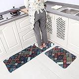 Leebei tapis de cuisine en caoutchouc de soutien décoratif anti-dérapant paillasson Runner Area Mats ensembles (Bohême, 15,7 × 23,6 pouces + 15,7 × 47,2 pouces)