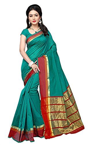 Indian Fashionista Women's Uppada Silk Saree With Blouse Piece(Green ,Free Size)