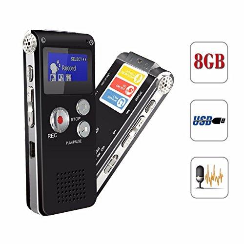 ELEGIANT 8GB USB Ricaricabili Registratore Vocale Dittafono Registratore Audio Digitale Lettore MP3 Stereo LCD Digitale Registratore Vocale per
