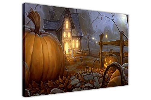 Farm Halloween Dekoration Wall Art Print auf Leinwand Bilder Fotos, canvas holz, 01- A4-12