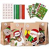 Naler 24 Sacs Calendrier de l'Avent en Papier Kraft Marron Noël 9 * 15 * 28cm, Sacs en Papier avec Autocollants, Père Noël Bonhomme de Neige Renne Ours
