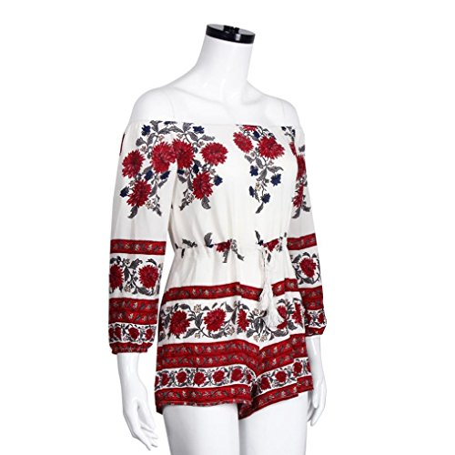 Sannysis Damen Schulterfrei Chiffon Jumpsuit Playsuit mit Sandstrand Rot