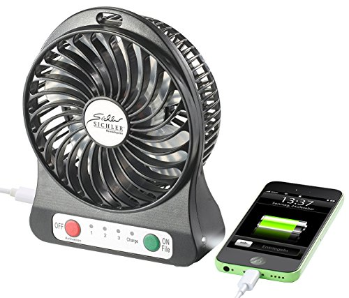 Sichler Haushaltsgeräte Ventilator mit Batterie: 3in1-Akku-Tisch-Ventilator mit Powerbank-Funktion & Leuchte, 1.800 mAh (Akku Tischventilator)