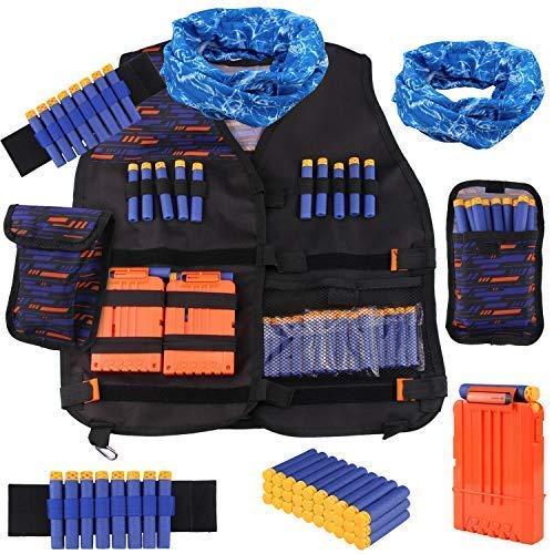 Satkago Kit de Chaleco Táctico de Niños para Nerf N-Strike Elite Series Incluido Bolsa de Bala, 30Pcs Espuma Dardos, 2Pcs 8-Dardos Correa de Muñeca, 1Pcs Bufanda, 1Pcs Clip rápido
